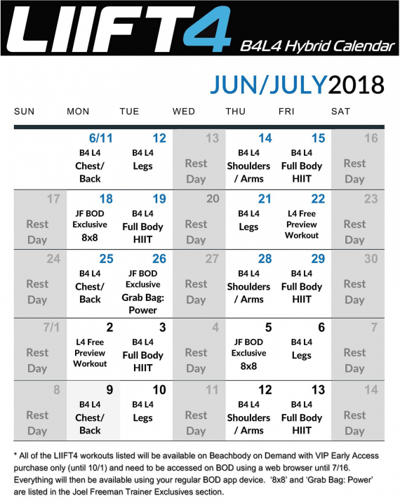 B4 Liift4 Calendar- Workout Schedule created by Joel Freeman