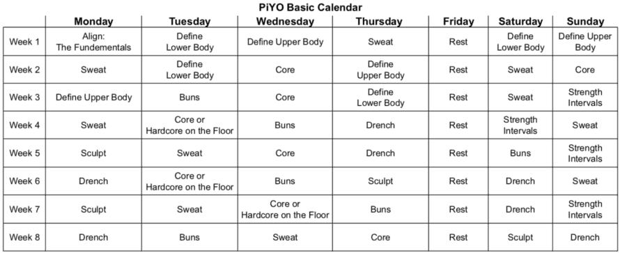 PiYo Basic Calendar Sorey Fitness