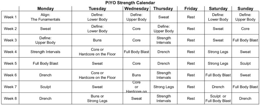 PiYo Calendar Strength - Sorey Fitness