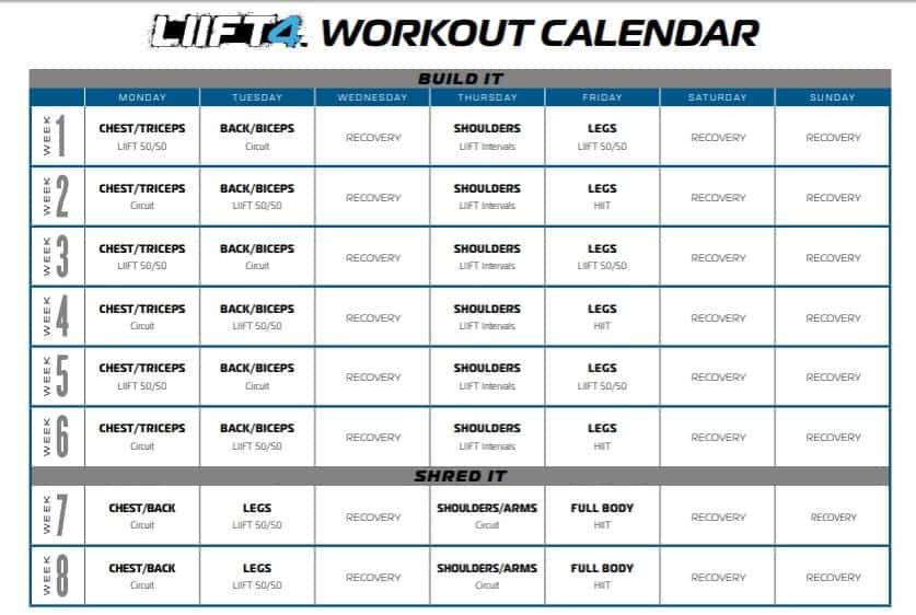 liift4 workout schedule