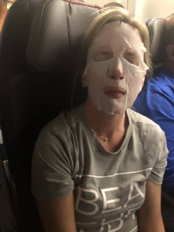 Wearing a face mask on an airplane