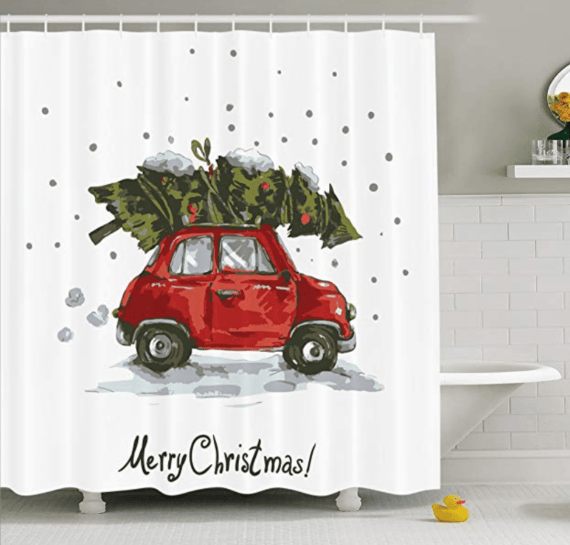 Car with Christmas Tree Shower Curtain