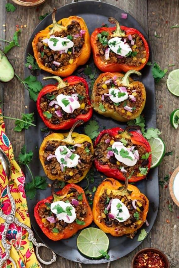 healthy dinner ideas with vegan huggs quinoa stuffed peppers -min