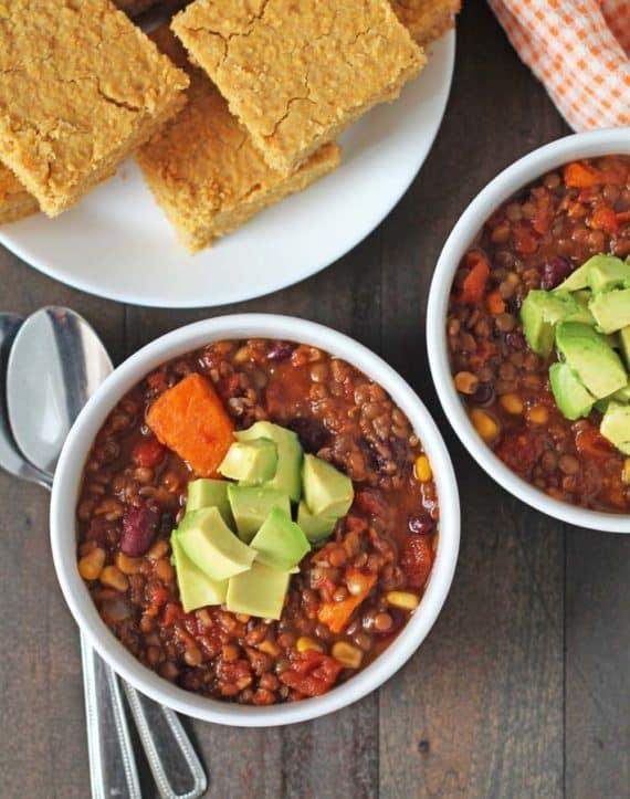 slow cooker healthy dinner idea lentil sweet potato chili