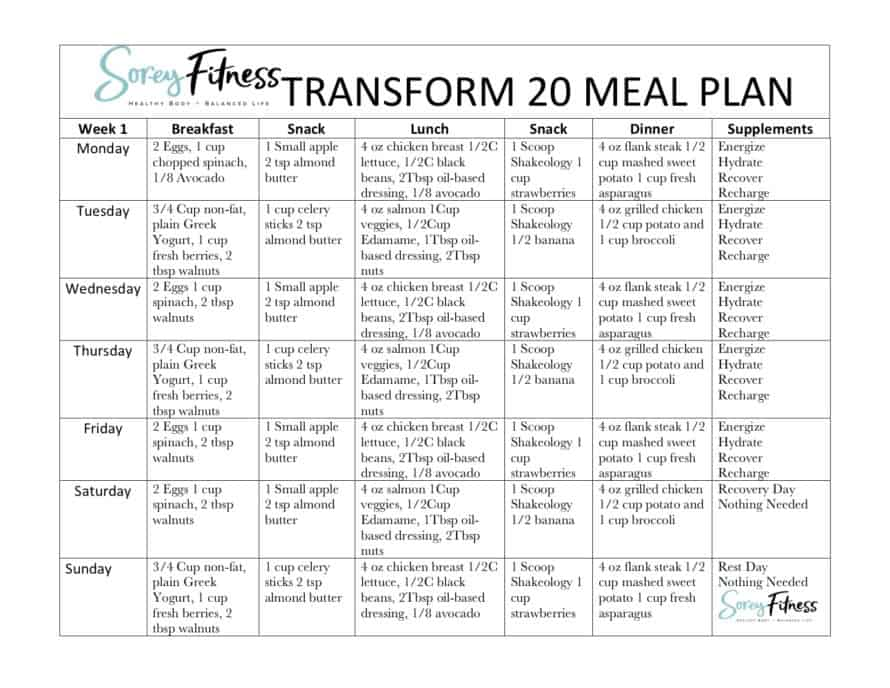 Transform 20 Meal Plan A