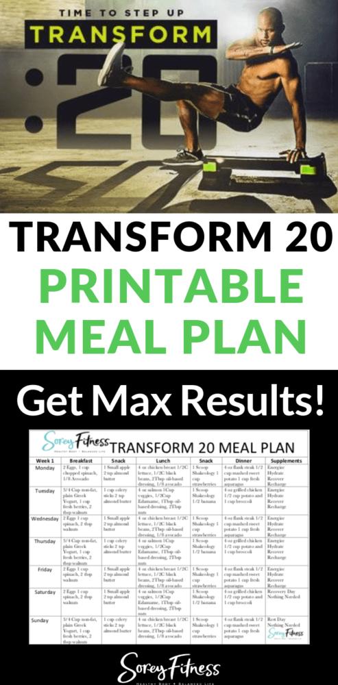 transform 20 meal plan template plan a