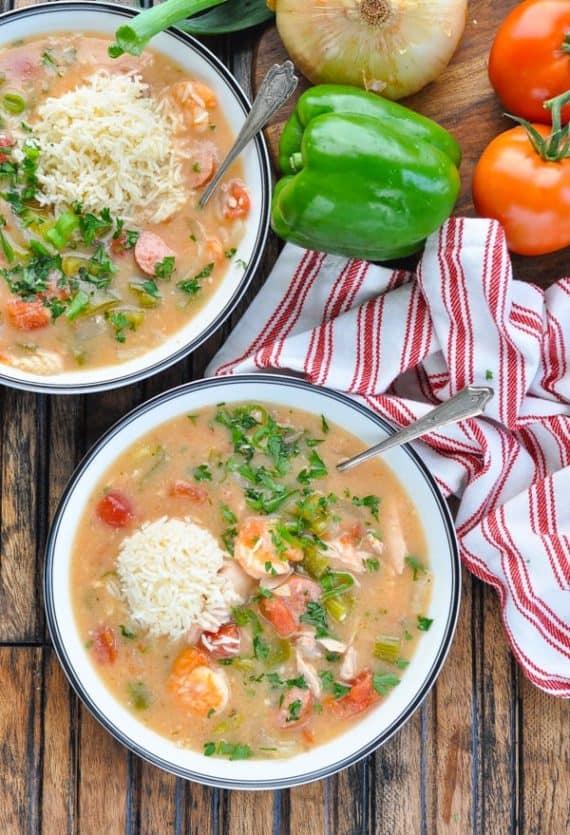 Healthy crockpot meals: gumbo