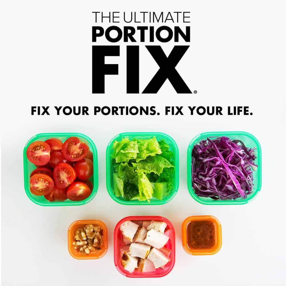 "Ultimate Portion Fix Containers with the logo and the words ""Fix Your Portions. Fix Your Life"""
