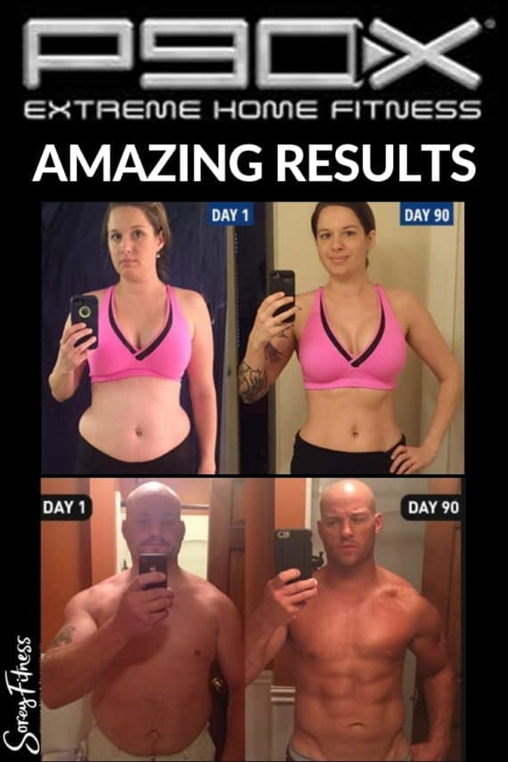p90x before and after results - 1 man's and 1 women's results