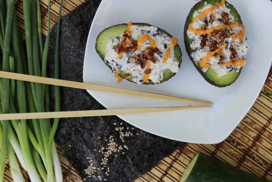 California Roll Sushi in an Avocado