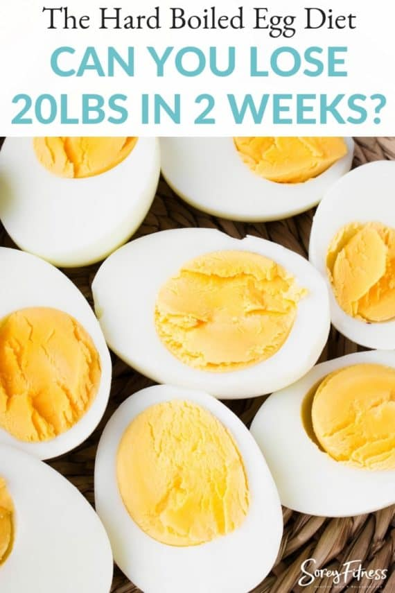"""Picture of hardboiled eggs with text overlay saying """"Can you lose 20lbs in 2 weeks?"""""""