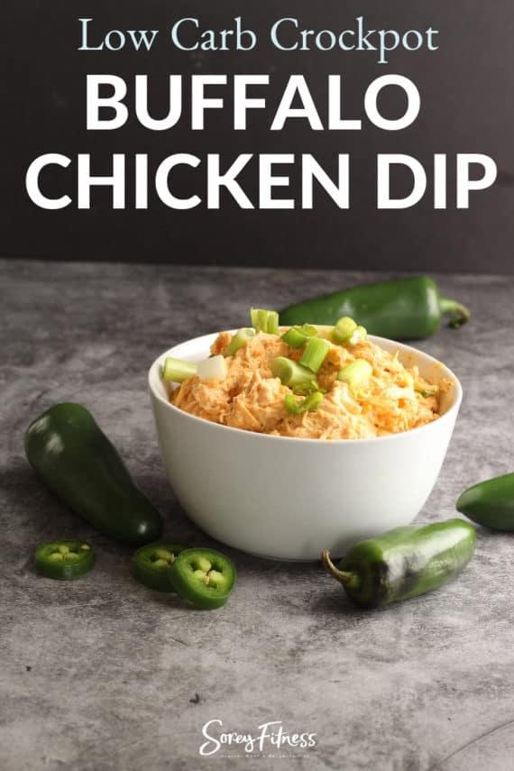 healthy buffalo chicken dip crockpot recipe in a bowl