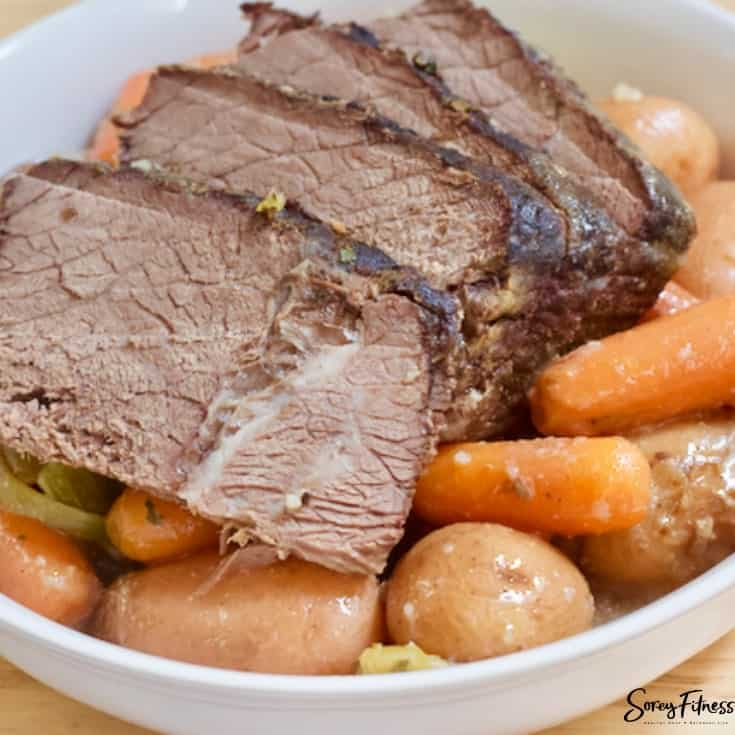 mississippi pot roast in a bowl with stew vegetables