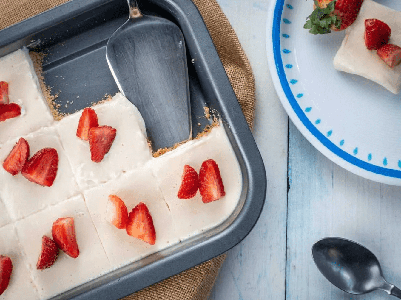 Strawberry Cream Pie Squares are Keto Friendly Desserts