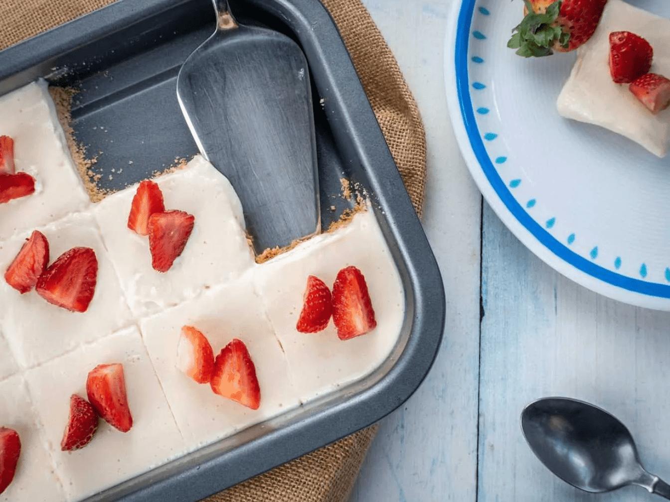 Strawberry Cream Pie Squares are Keto Friendly Desserts