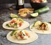 healthy street tacos with chicken Recipe Card Image
