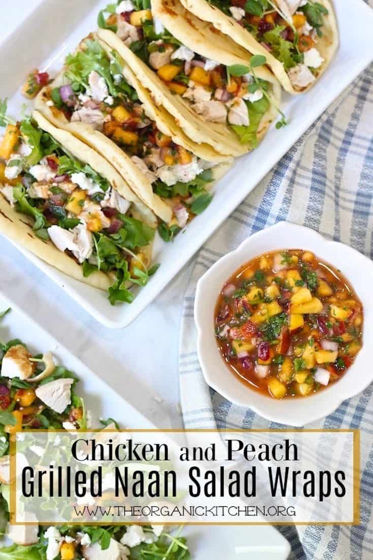 Chicken and Peach Grilled Naan Salad Wraps