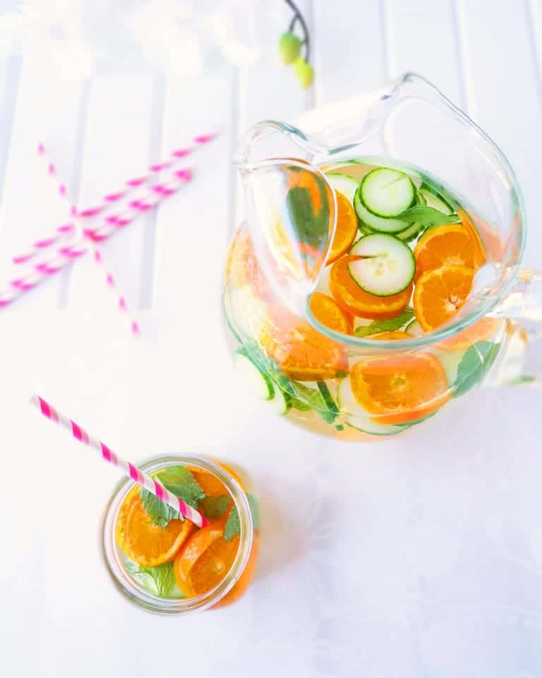 Citrus cucumber and mint water