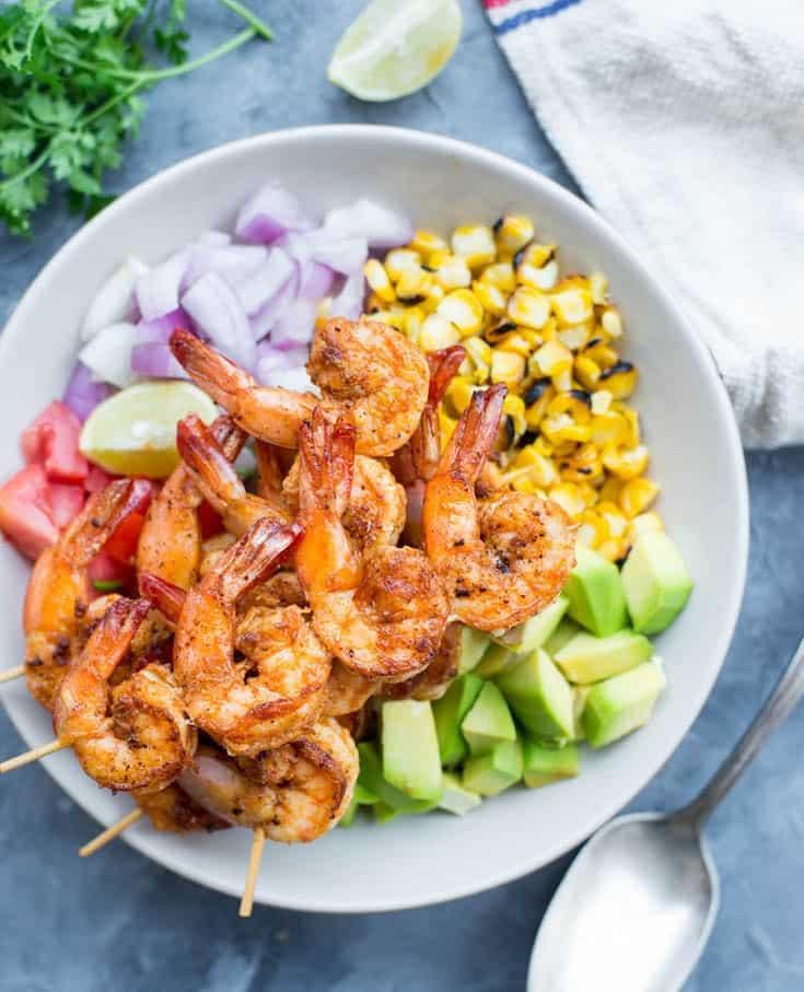 Grilled Shrimp with Corn Salad