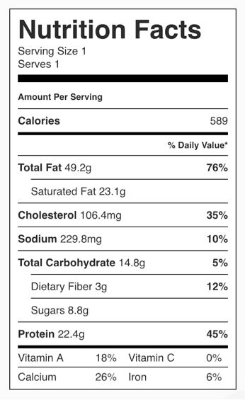 nutritional information for no bake cheesecake