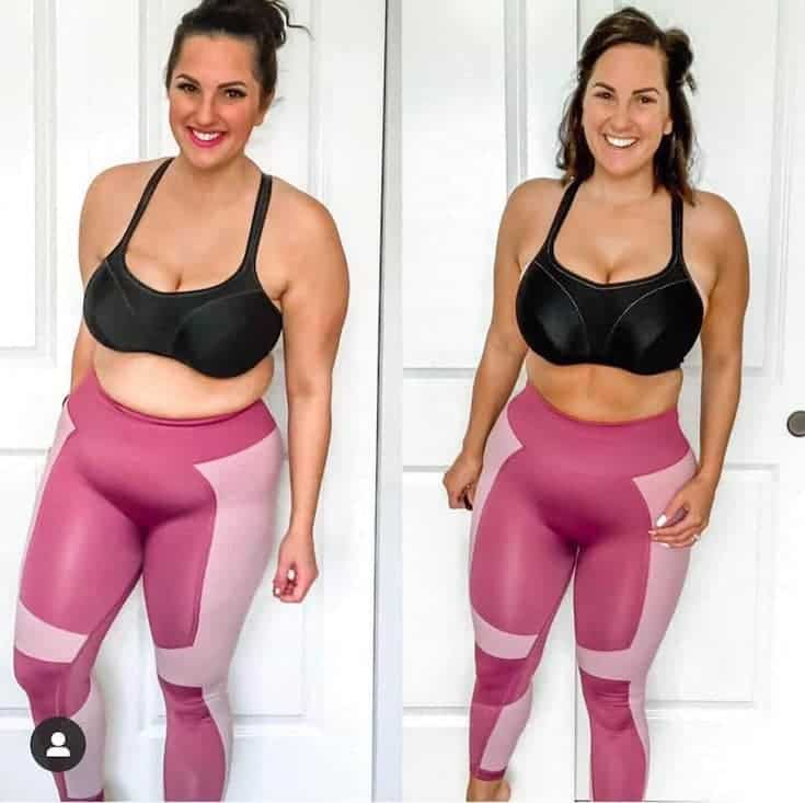 woman's before and after the 100 workouts