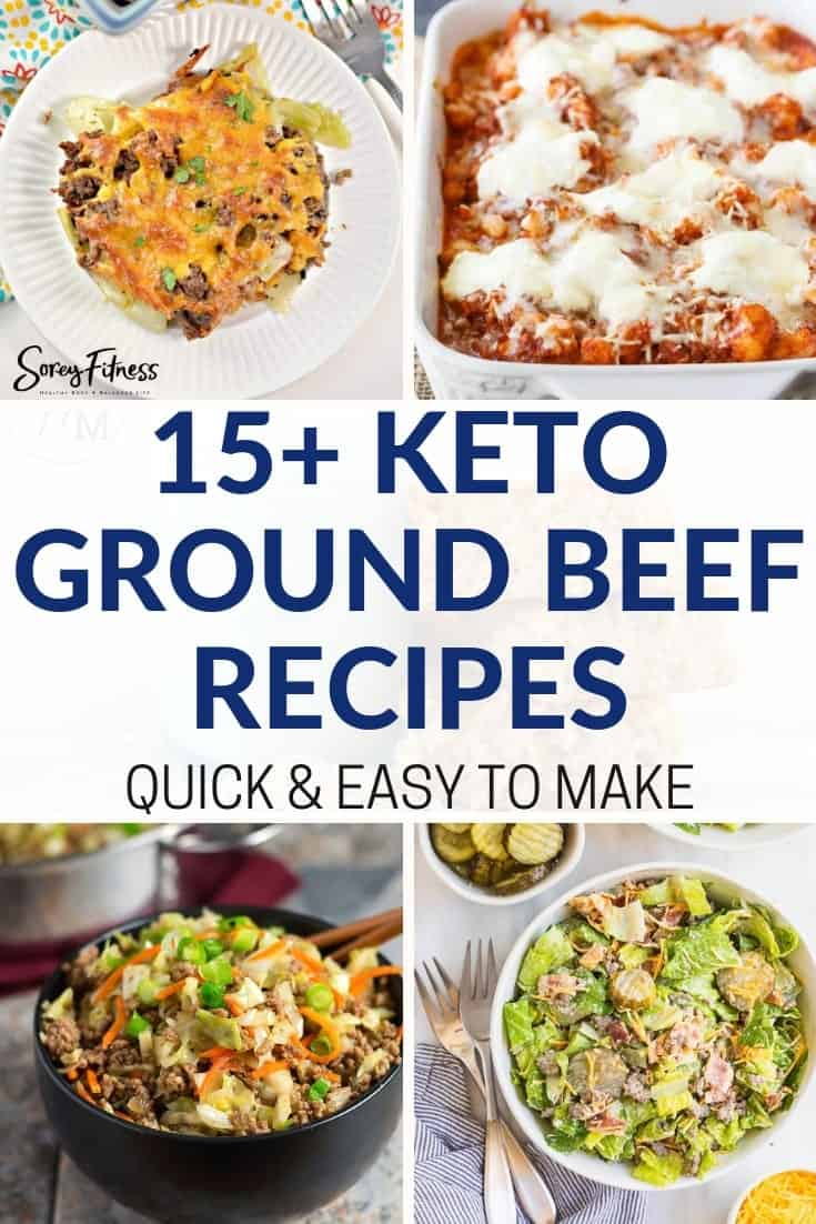 collage of 4 keto ground beef recipes including 2 casseroles, an egg roll in a bowl, and a pan of ziti.