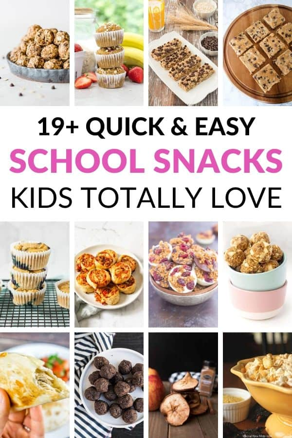 collage of 12 school snack ideas