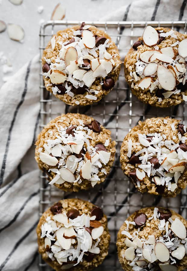 baked oatmeal cups with coconut and chocolate