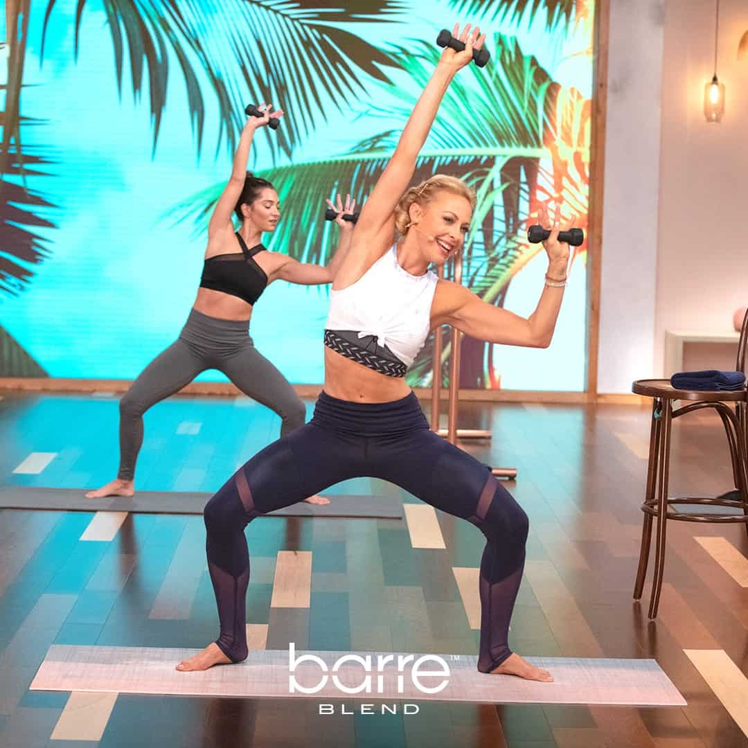 elise in a barre blend class