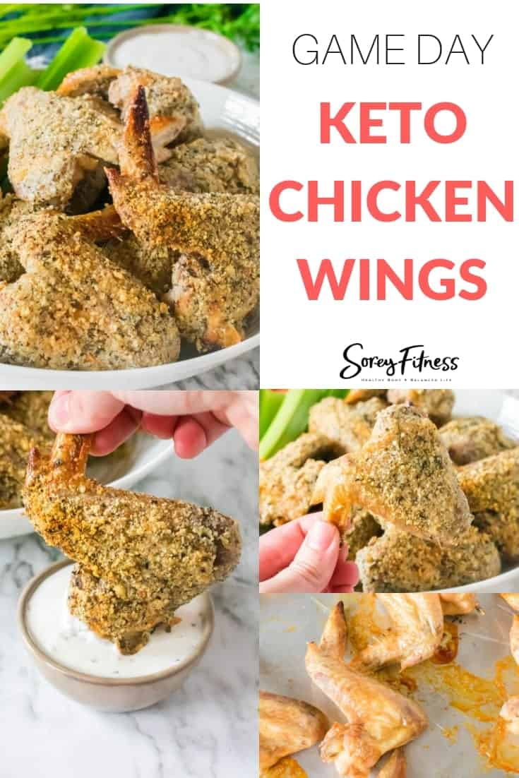 a collage of the keto chicken wings being served