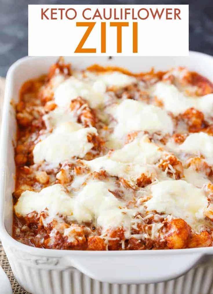 keto cauliflower ziti covered in cheese in a pan