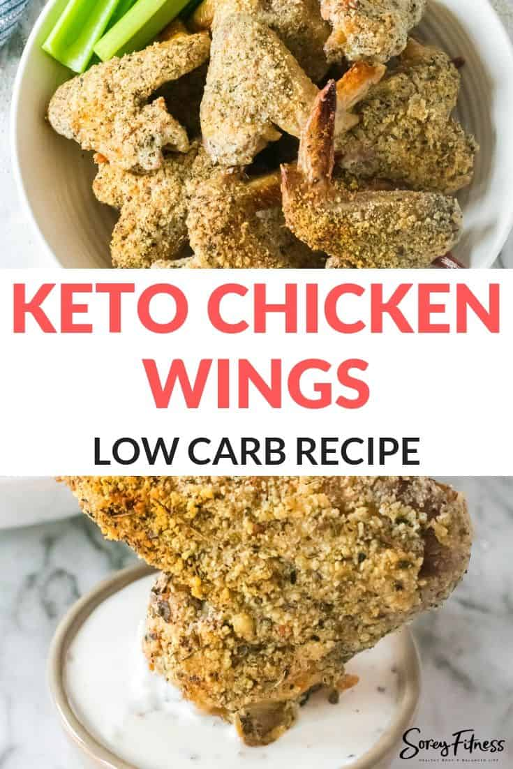 collage of the finished keto chicken wings
