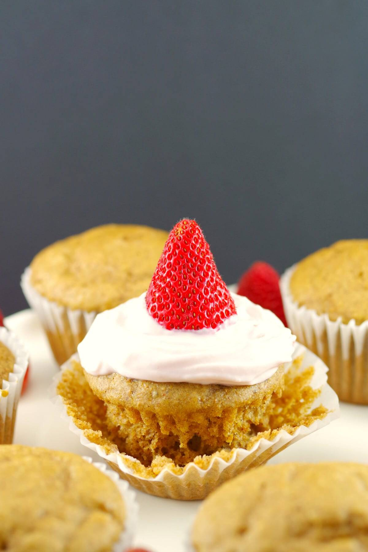 pancake cupcake with a strawberry on top