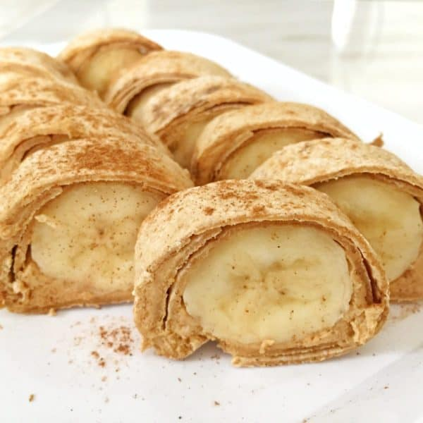 A fun kids school lunch idea is peanut butter and banana sushi