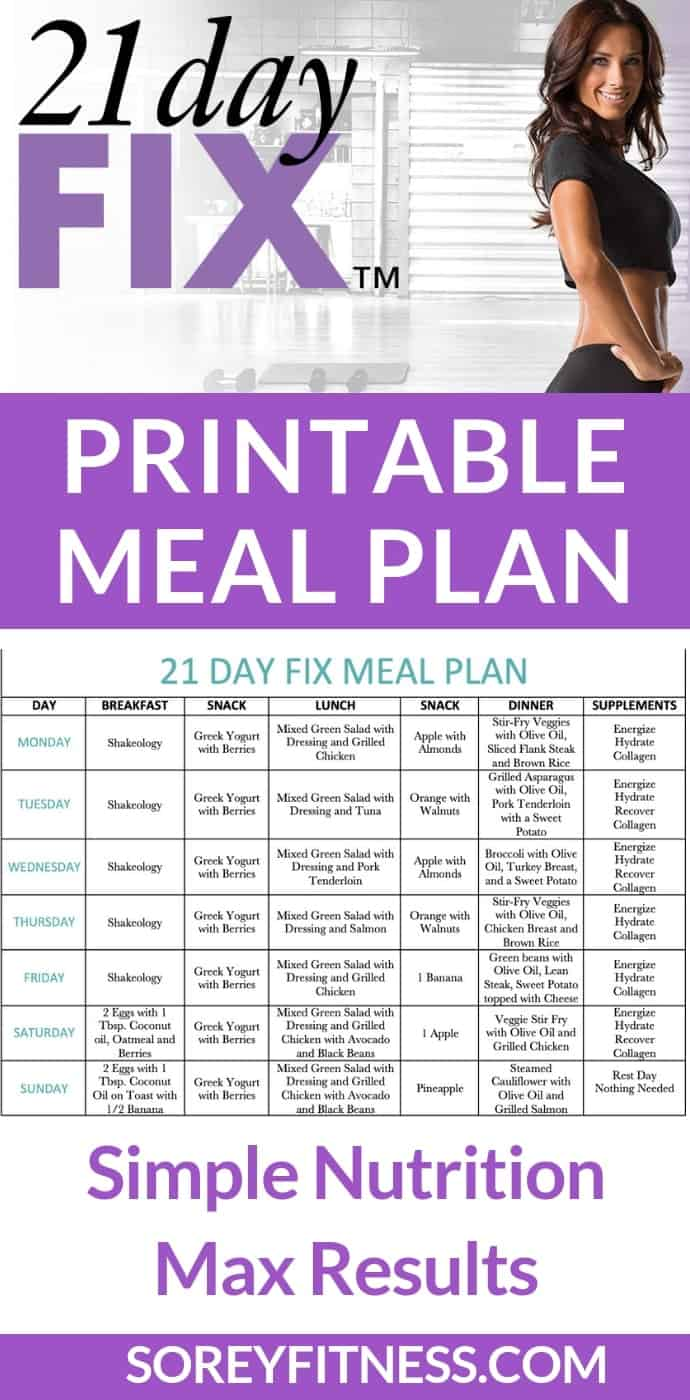 Pinterest Long Image with Autumn Calabrese and the Printable Meal Plan on one image