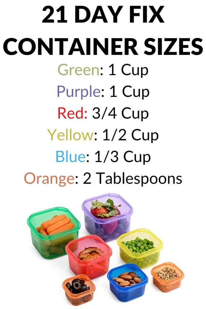list of 21 day fix container sizes