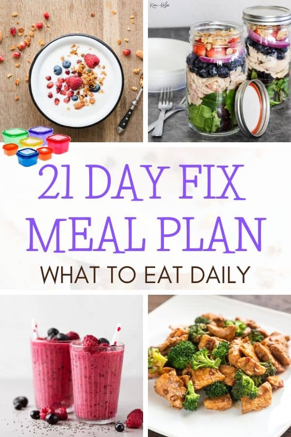 21 day fix meal plan collage of recipes included below