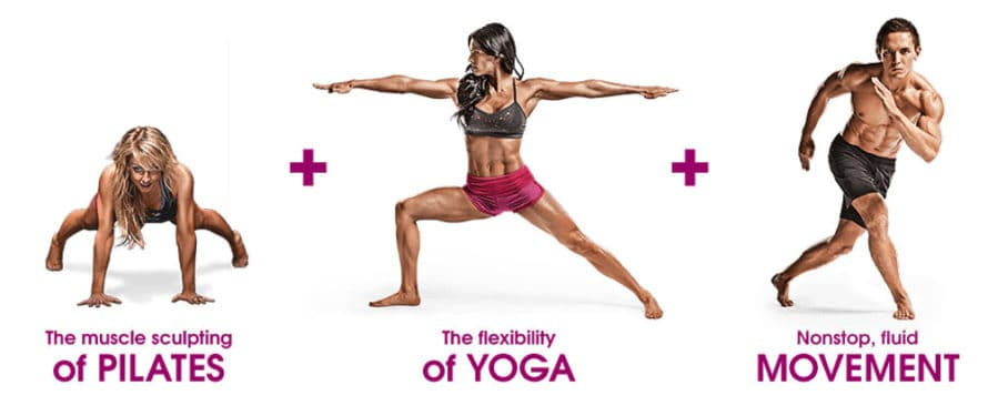 A PiYo workout combines pilates, yoga, and movement with someone doing a plank, a warrior pose, and a skater jump
