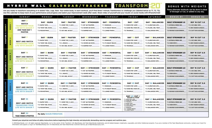 Transform 20 Wall Calendar with Weighted Workouts