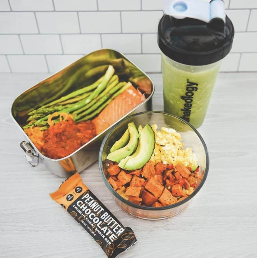 Transform 20 Sample Meals for 1 Day - Shakeology, a Beachbar, Salmon with Asparagus and spaghetti squash, eggs with avocado and sweet potatoes, and Shakeology