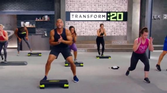 t20 workout shot showing the step or no step option
