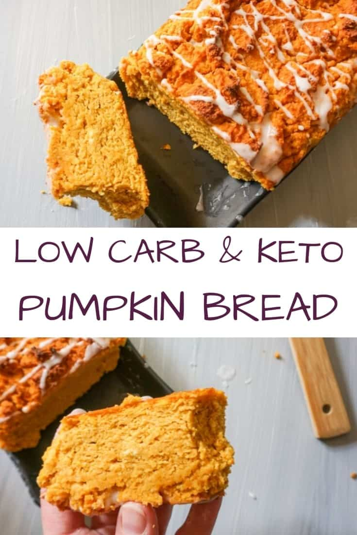 collage of low carb and keto pumpkin bread recipe