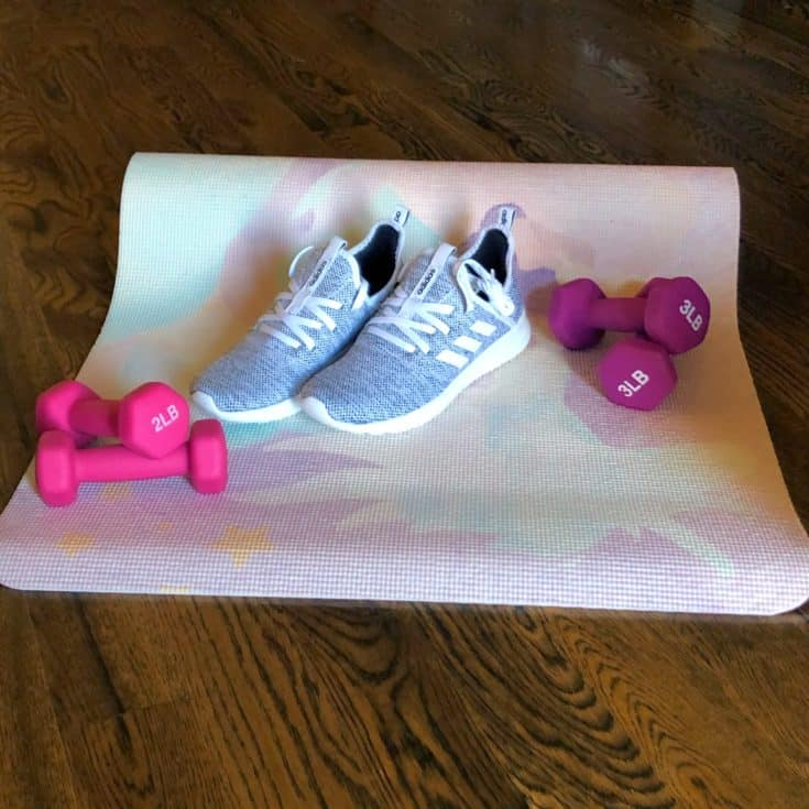 Free weights and adidas shoes