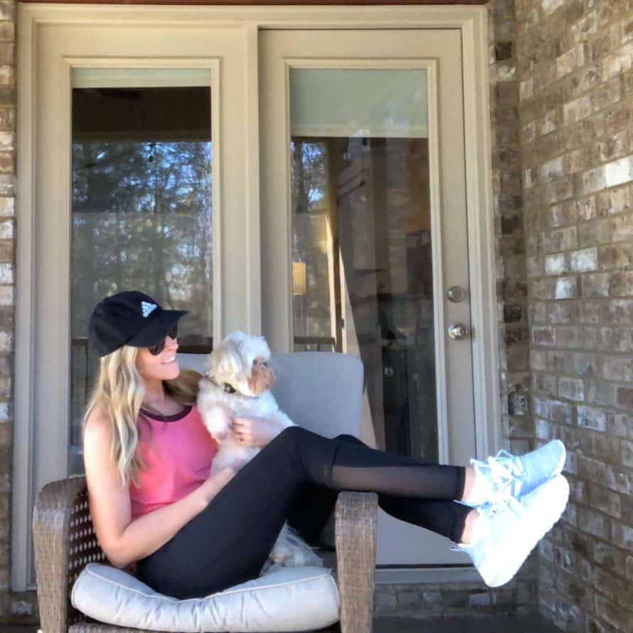 Kalee and Roxy Sitting Outside