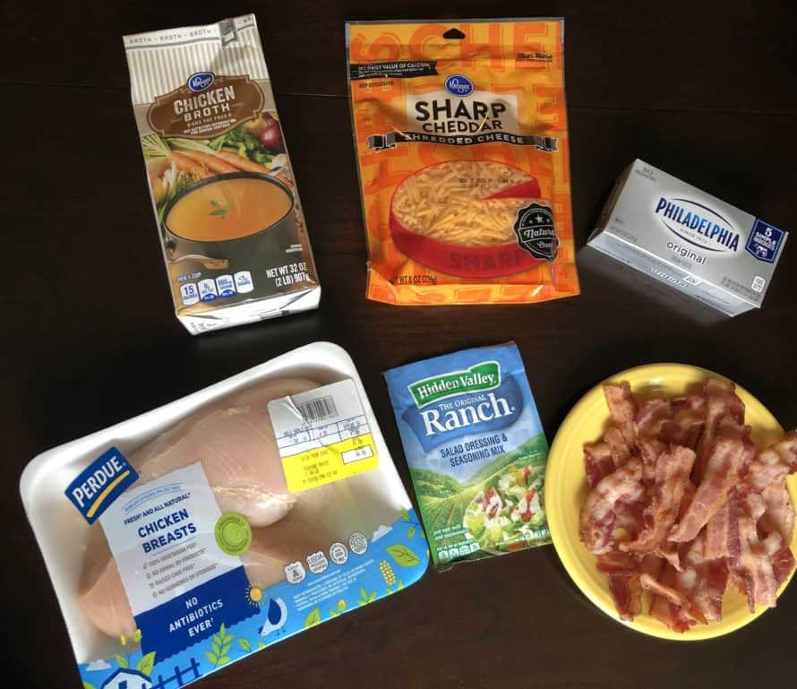 Slow Cooker Chicken Bacon Ranch Ingredients