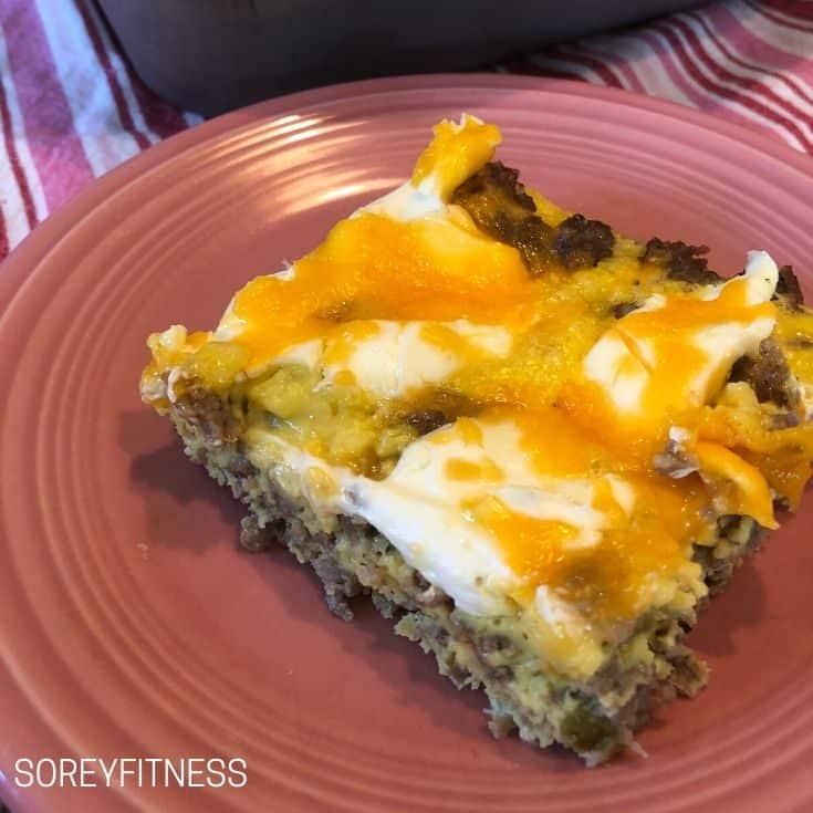 square of keto breakfast casserole