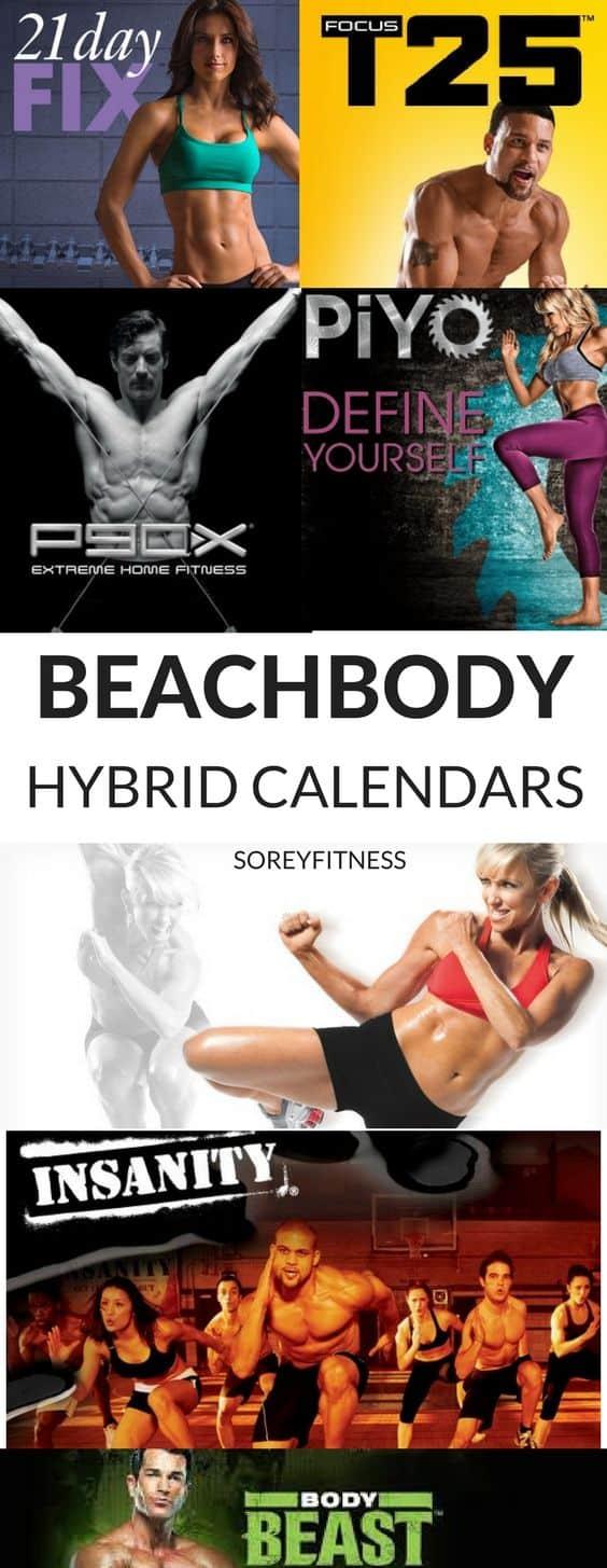 beachbody hyrbid calendars