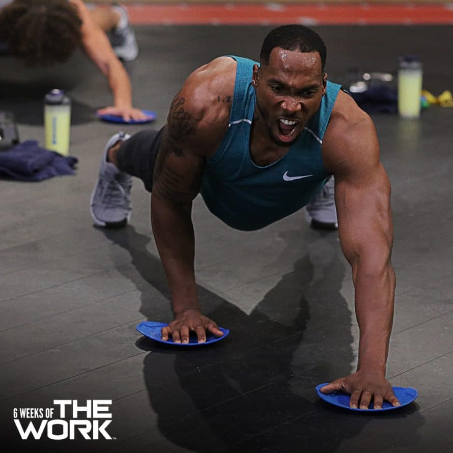 strength slides plank during 6 Weeks of THE WORK