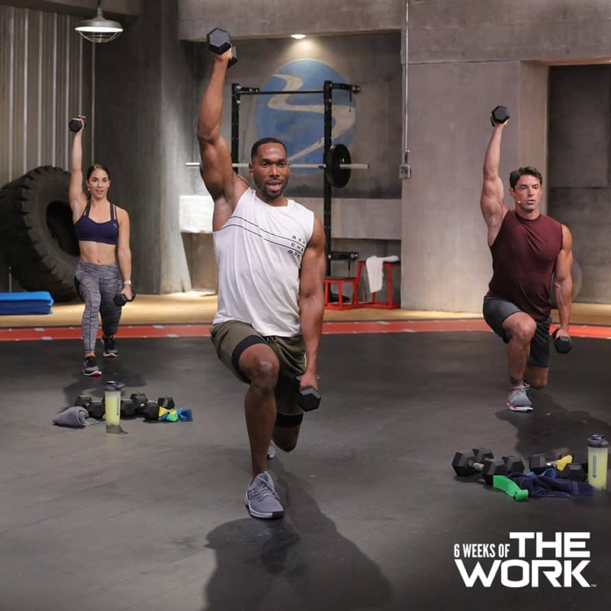 total body move with a lunge and shoulder press during THE WORK workouts