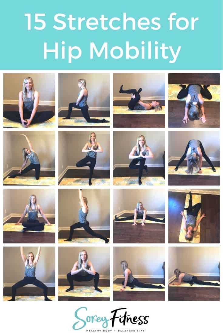 photo collage of hip opening stretches for hip mobility